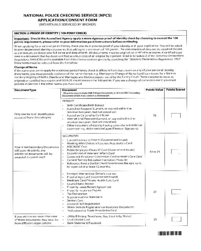 application for national police certificate victoria