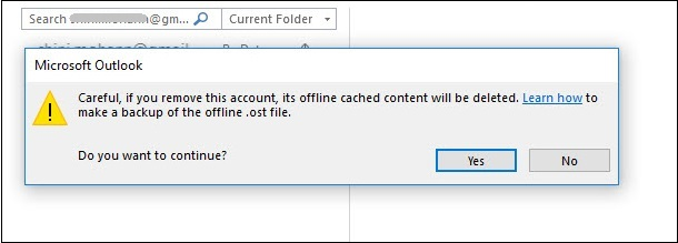 delete your account in outlook application