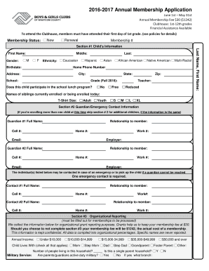 boys and girls club membership application