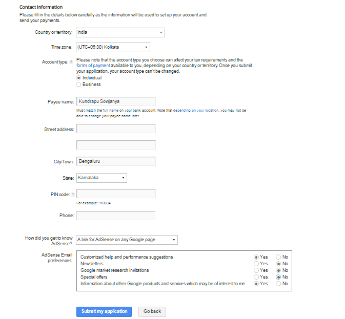 google application account sign up