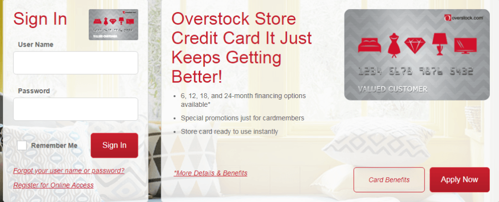 overstock credit card application status