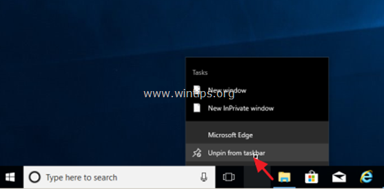 how to remove application shortcut windows 10