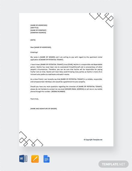 rental application reference letter template
